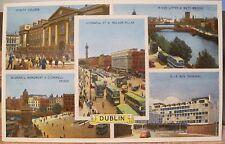 Irish Postcard DUBLIN MULTIVIEW Trinity Liffey CIE Bus ETW Dennis Ireland 1940s