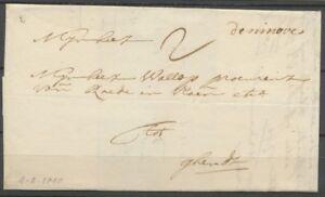1740 Lettre avec marque manuscrite de ninove Belgique rare P2772