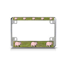 PIG Chrome Motorcycle Bike Metal License Plate Frame Tag Border