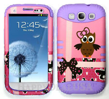 KoolKase Hybrid Silicone Cover Case for Samsung Galaxy S3 - Pink Owls 01