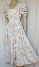 Laura Ashley Sommerkleid 36 38 Blumen weiß orange grün lila Hochzeit vintage