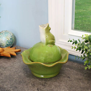 """Sunnydaze Indoor Tabletop Fountain w/ Green Ceramic Frog Water Feature - 8"""""""