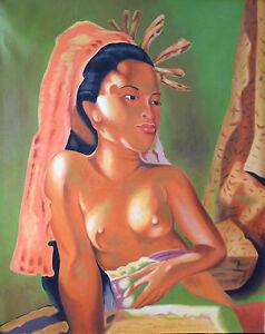 Hand painting Balinese Bali Woman Bare 88