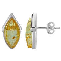 925 Solide Pure Sterling Silver Vert Baltic Amber Flaming Sun Clous D/'Oreilles