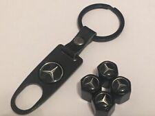 4 X Negro Neumático Válvula Polvo Tapas Para Mercedes Benz Con Llavero Cadena AMG MB ML