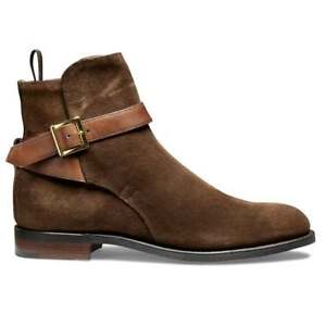 Handmade Men's Ankle Buckle Strap Formal Brown Suede/Leather Chukka Boots
