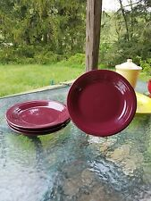 "4 DINNER PLATES set lot claret burgundy HOMER LAUGHLIN FIESTA WARE 10.5"" NEW"