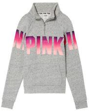 Victoria's Secret Pink Ombre Perfect Quarter Zip Pullover Heather Riverstone L
