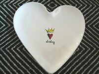 RAE DUNN Darling Heart Shaped Plate Dish Heart Crown NEW
