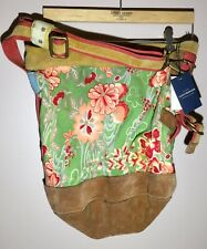 Lucky Brand XL Women's BOHO Floral Butterfly Canvas Suede Crossbody Bag Tote NEW