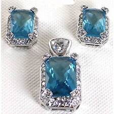 BLUE AQUAMARINE CZ & CLEAR CZ PENDANT_EARRINGS SET_925 Sterling Silver