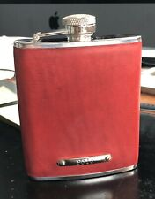 Ralph Lauren Red Leather Polo Stainless Steel Liquor Hip Flask