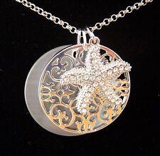 Anhänger Ornament Scheibe Seestern Kristalle - Kette 70 cm - Farbe Silber - NEU