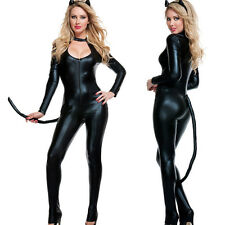 Bar Stage HOT Faux Leather Catsuit Jumpsuits Fetish Cosplay Dress Catwoman Tail