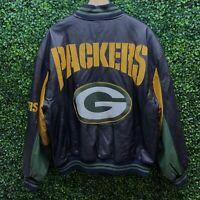 Vintage Carl Banks G III Green Bay Packers Full Zip 100% Leather Jacket Coat XL