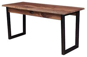 Amish Rustic Writing Desk Live Edge MetaI Industrial Base Rustic Walnut Wood