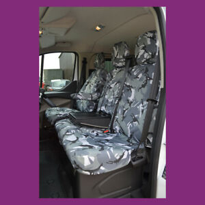 Ford Transit Custom 2013+ Tailored Waterproof Grey Camo Front w/tray Seat Covers
