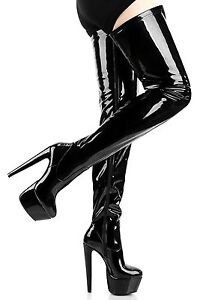 DESTROYER Black Shiny Overknee Thigh Boots with chunky heel