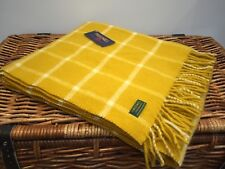 TWEEDMILL TEXTILE MUSTARD YELLOW CHEQUERED CHECK WOOL KNEE BLANKET/THROW/RUG