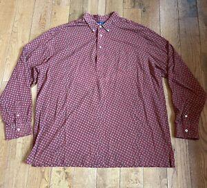 Mens Polo Ralph Lauren Polo Shirt Red Green Squares Geometric Pattern 2XLT Tall