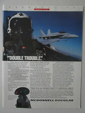 4/1989 PUB MCDONNELL DOUGLAS F/A-18 HORNET US NAVY VERSATILITY HELMET PILOT AD