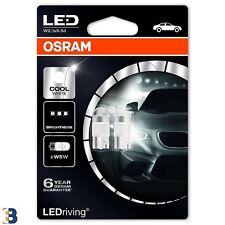 2x W5W OSRAM Genuine LED (501) 12V 1W Cold White 6000K Wedge Bulbs 2850CW-02B