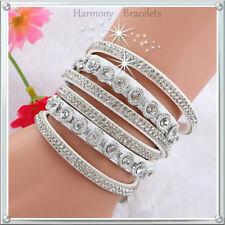 White Classic Swarovski Elements Wrap Slake Bracelet by Harmony Bracelets