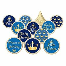 Little Prince Boy Baby Shower Gold Blue Party Favor Candy Stickers Set of 324