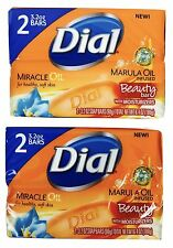 2X Multi-Packs Dial Marula Miracle Oil Infused Bar Soap 4 Bars Total 3.2oz Each
