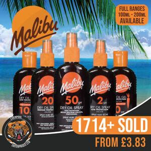 Malibu Dry Oil Sprays From SPF 2 - SPF 50 100ml & 200ml, Malibu Dry Oil Gels