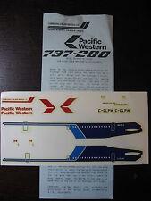 1/144 ATP DECALS BOEING 737-200 PACIFIC WESTERN  DECALCOMANIE