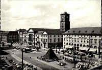 KARLSRUHE ~1950/60 Tram Strassenbahn Haltestelle Marktplatz Autos, Verkehr, s/w