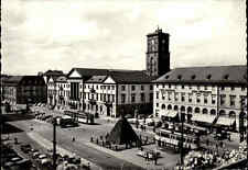 KARLSRUHE ~ 1950/60 Tram tramways arrêt place du marché des voitures, transports, S/W