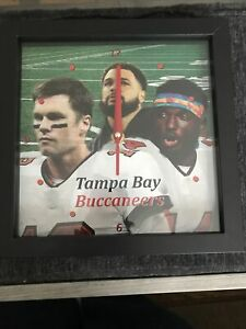 Tampa Bay Buccaneers Clock, Tom Brady, Chris Godwin, Mike Evans. 8x8 Football