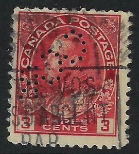 Perfin C11-CCR Canadian Consolidated Rubber: Scott 109 3c Carmine Admiral Pos. 5