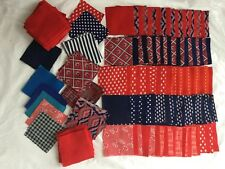 200 Polyester Quilt Squares 4� X 4� Patterns & Solids, 85 Red, Various Patterns