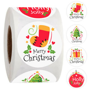 1inch Merry Christmas Tree Stickers Elk Candy Bag Sealing Sticker Gift Box Labzh