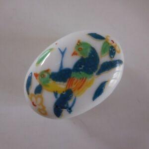 Boite bijou miniature YR céramique porcelaine blanc art déco fleur oiseau N7427