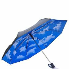 MoMA Mini Sky Umbrella Blue Clouds Handle Retracting Collapsible Fashion Gift