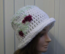 Ladies' White/Apple/Wine Crochet  Warm  Wooly  Cloche Hat - one off design