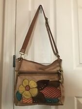 FOSSIL Leather Purse Tooled Floral Boho Studs Crossbody Messenger Bag RARE
