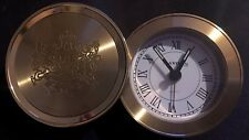 Round Travel Desk Clock Swivel Alarm -Mayor's -Gold Plated