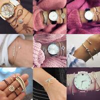 Fashion Women Bangle Bracelets Set Rhinestone Bohemian Beaded Chain Jewelry New