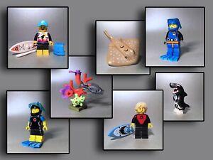 Lego Figuren - Taucher Stand up Paddler Stachelrochen Schildkröte Koralle Ozean