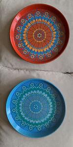2 Worcester Ware Round Trays Boho Chic Mandalas 1960s