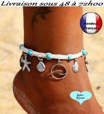 Chaine de cheville Boho Bohème turquoise macramé étoile  pied Taille    X011