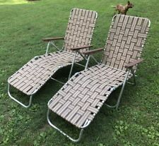 Pair Matching Brown Vtg Folding Aluminum Chaise Lounge Lawn Pool Reclining Web