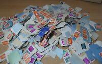 Lote montón de sellos pegados, España Franco, matasellados, trozos de carta