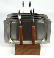Vintage Japan Lot of 4 Appetizer Stianless Steel Plates and Forks Set USA Seller