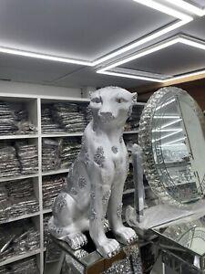 Large Big cat Diamond Silver Jaguar Ceramic Ornament Figure Animal Cougar Puma